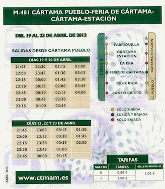 Servicio especial de autobuses para la feria de abril de Cártama 2013