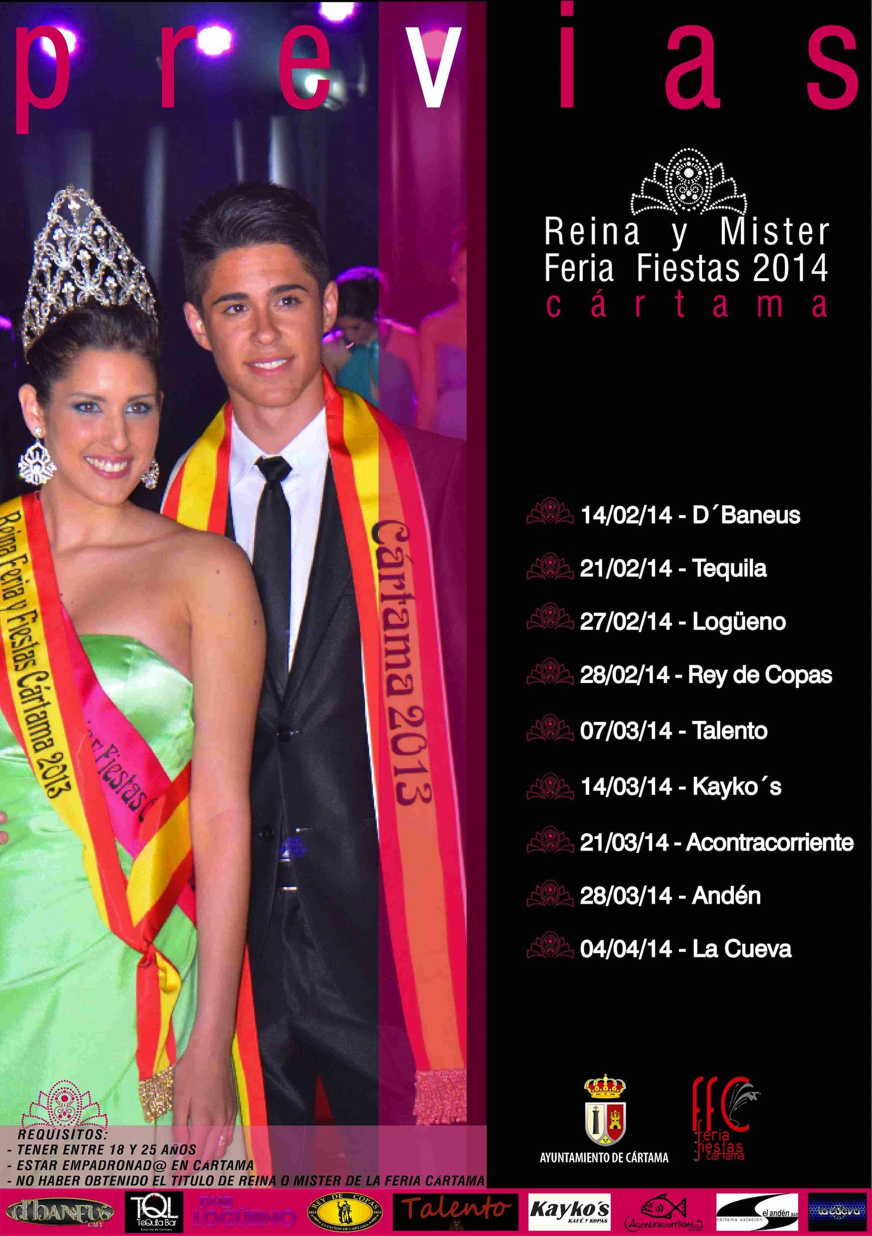 La elección de candidatos a Reina y Míster 2014 contará este año con galas previas en los bares de copas