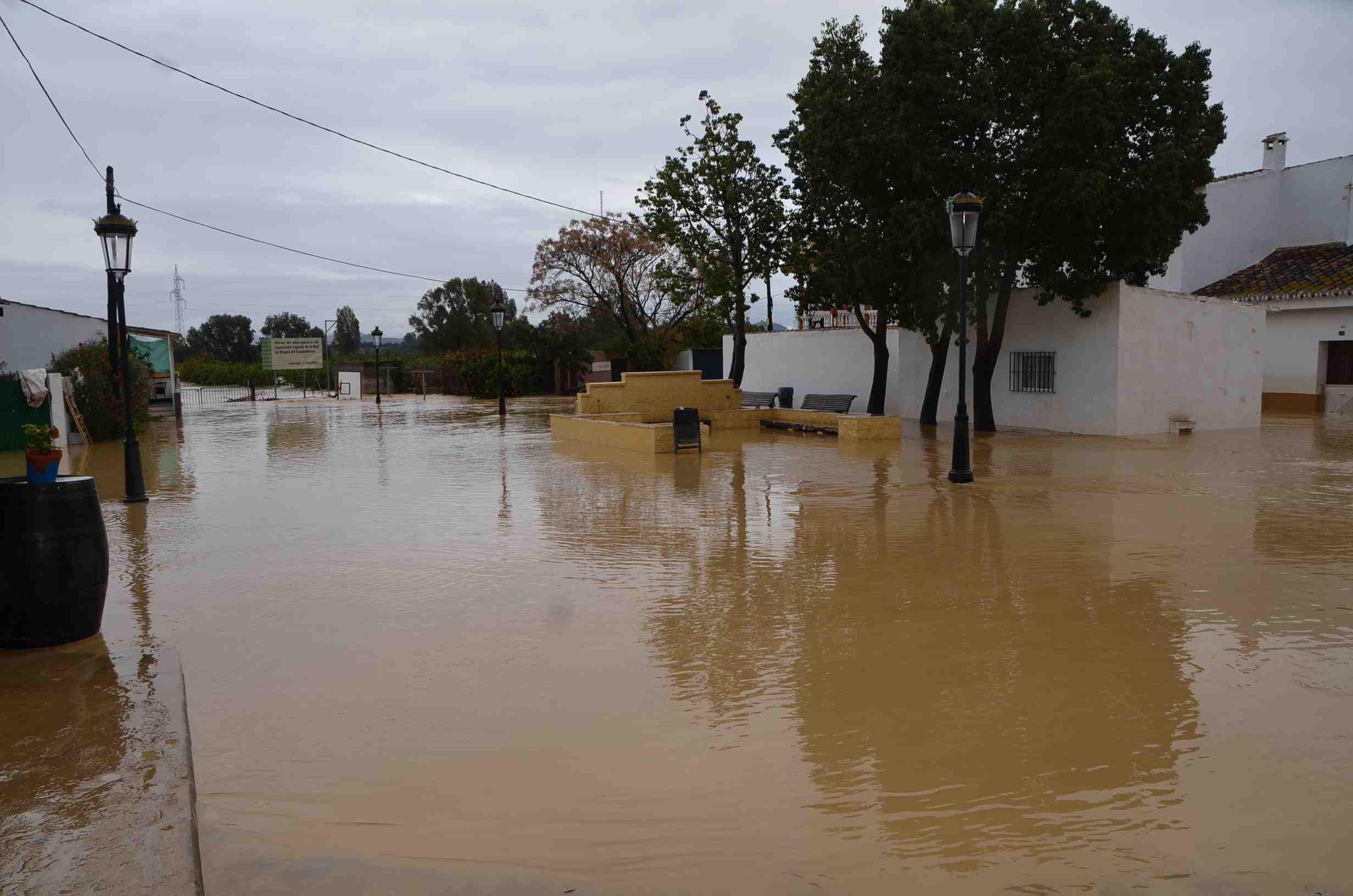 Las intensas lluvias causan el desbordamiento del río Guadalhorce y numerosos daños en Cártama